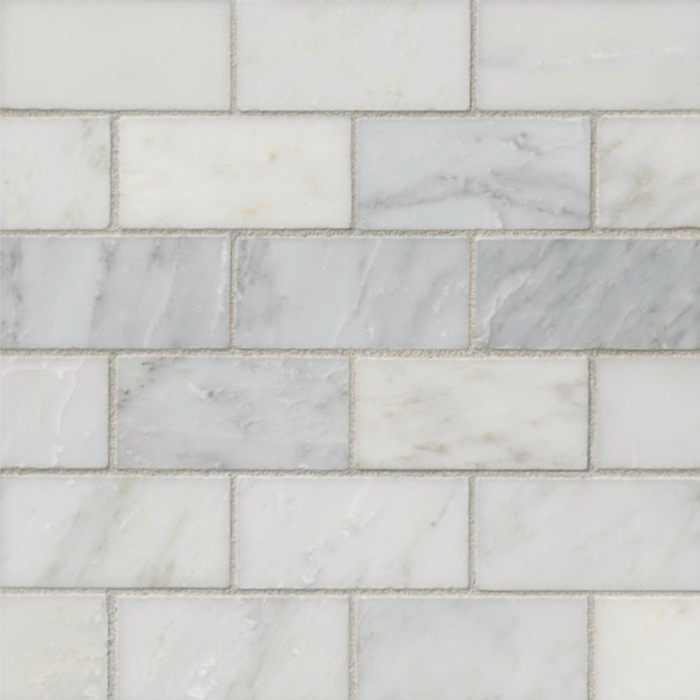 Hampton Carrara Marble Polished Amalfi Subway Mosaic Tile - 2 x 4 in.