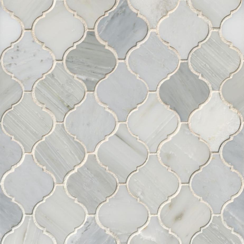 Hampton Carrara Marble Polished Arabesque Lantern Mosaic Tile