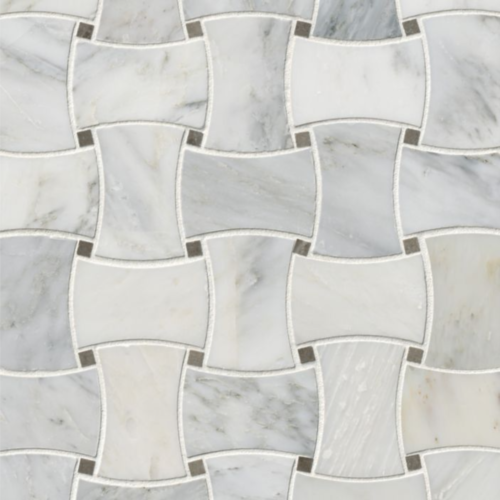 Hampton Carrara Marble Polished Basketweave with grey dots tile