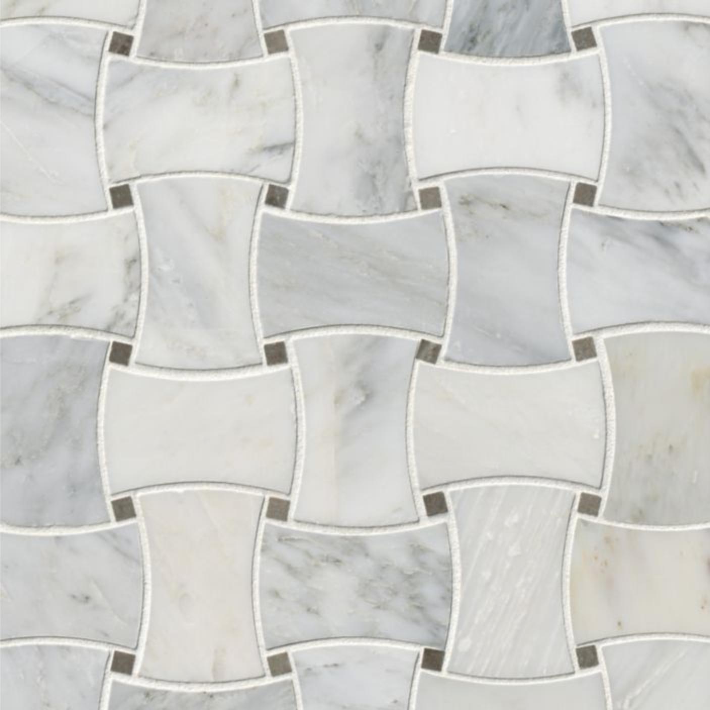 Hampton Carrara Marble Polished Basketweave with grey dots tile
