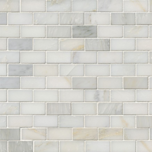 Hampton Carrara Marble Polished Brick Cardine Mosaic Tile
