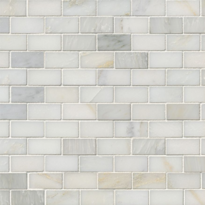 Hampton Carrara Marble Polished Brick Cardine Mosaic Tile