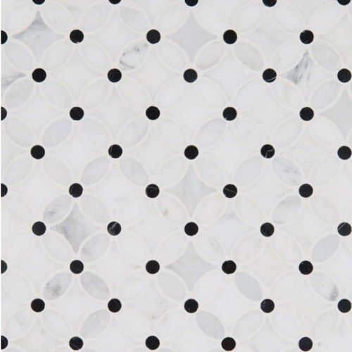 Hampton Carrara Marble Polished Floaral Arabesque with black dots tile