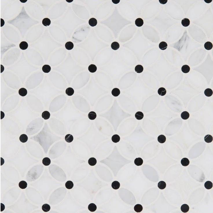 Hampton Carrara Marble Polished Floaral Arabesque with black dots tile