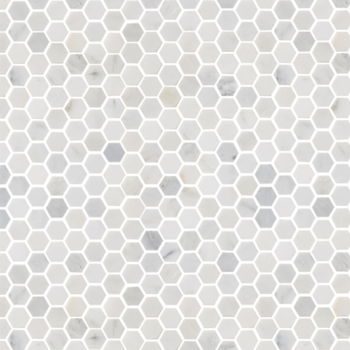 Hampton Carrara Marble Polished Hexagon Mosaic
