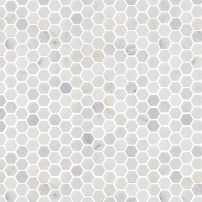 Hampton Carrara Marble Polished Hexagon Mosaic