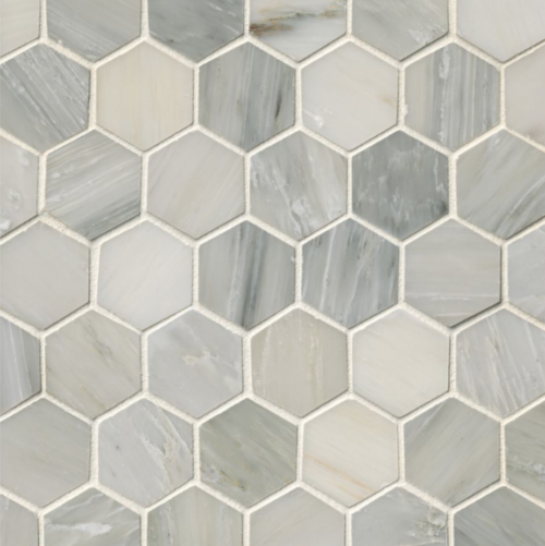 Hampton Carrara Marble Polished Hexagon Mosaic Tile