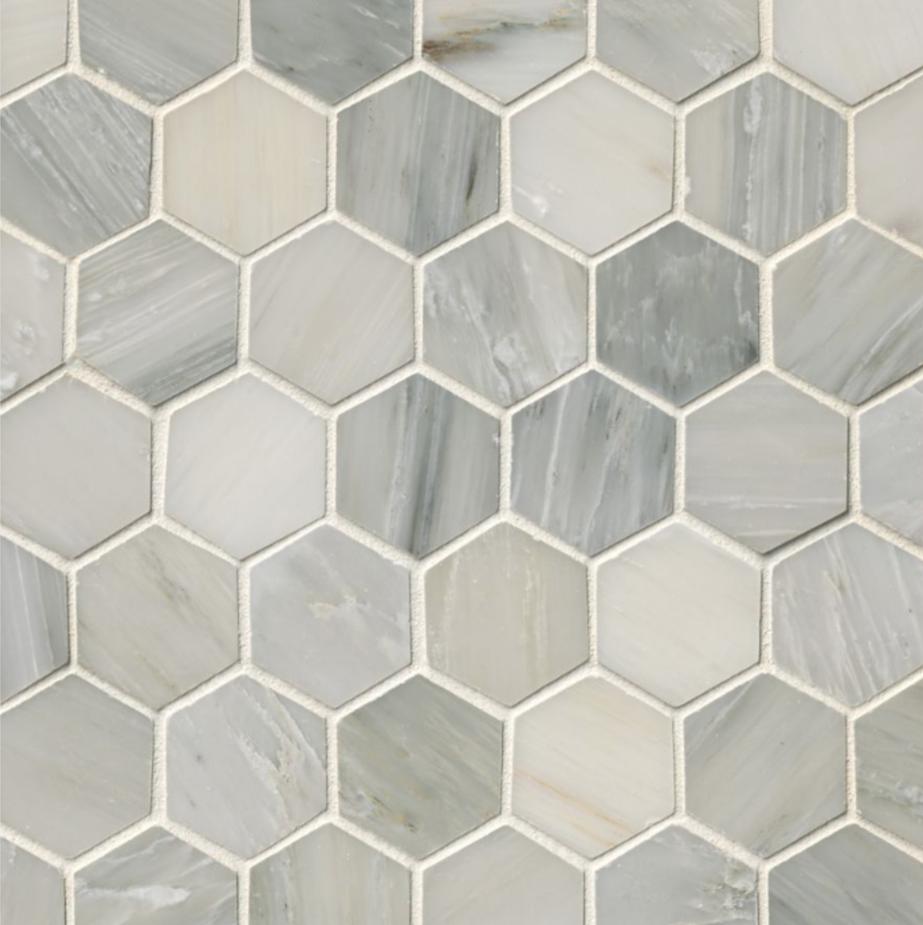 Hampton Carrara Marble Polished Hexagon Mosaic Tile