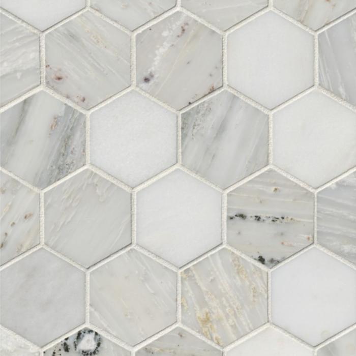 Hampton Carrara Marble Polished Hexagon Mosaic Tile -3 x 3 in.