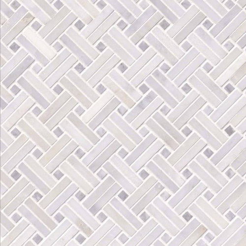 Hampton Carrara Marble Polished Mini Double Basketweave with Dots Tile