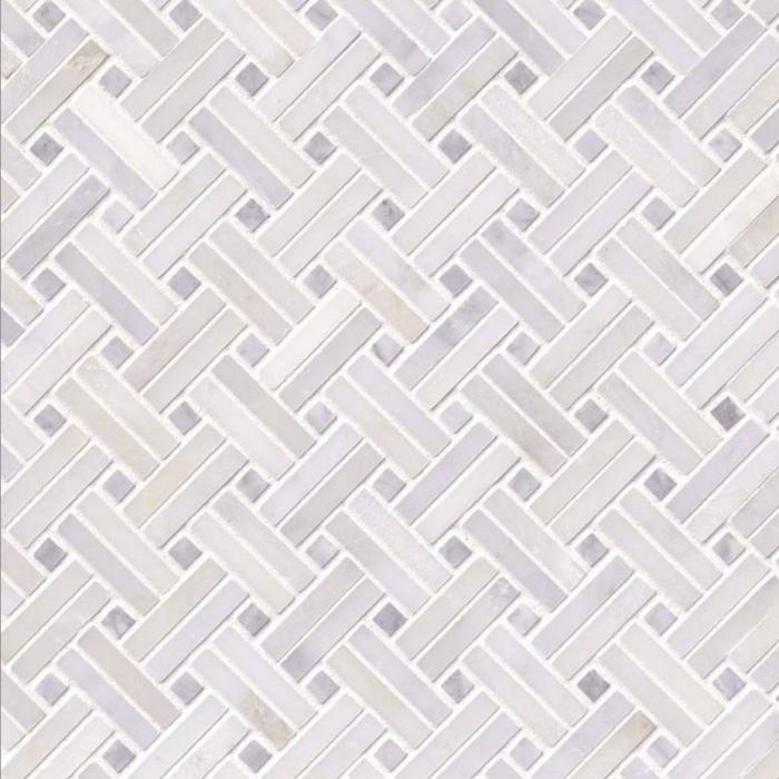 Hampton Carrara Marble Polished Mini Double Basketweave with Dots Tile