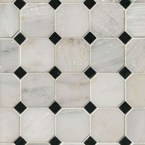 Hampton Carrara Marble Polished Octagon Hermosa Tile