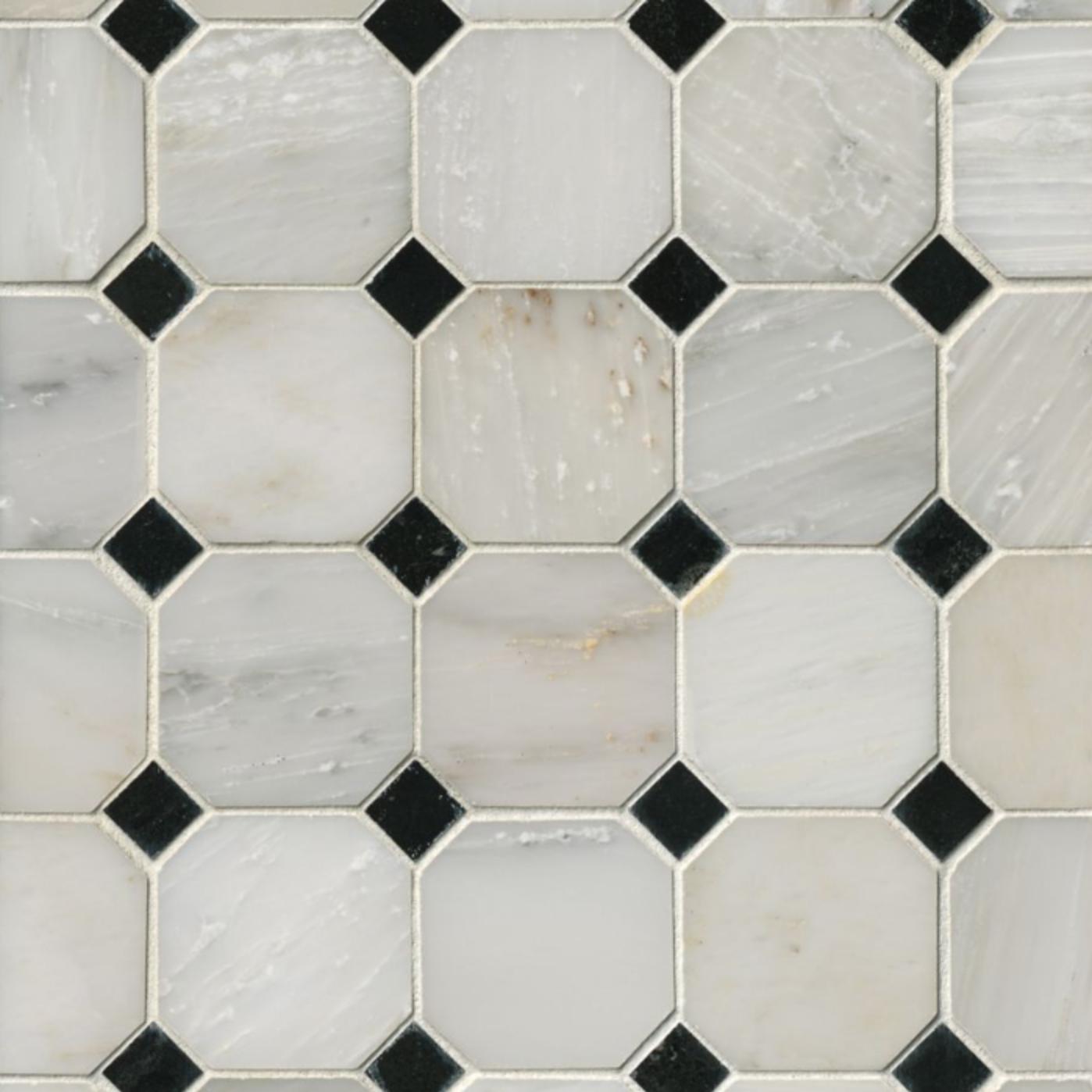Hampton Carrara Marble Polished Octagon Hermosa Tile