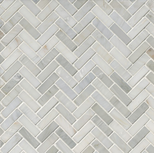 Hampton Carrara Marble Polished Small Herringbone Mosaic Tile