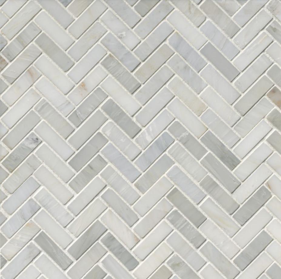 Hampton Carrara Marble Polished Small Herringbone Mosaic Tile