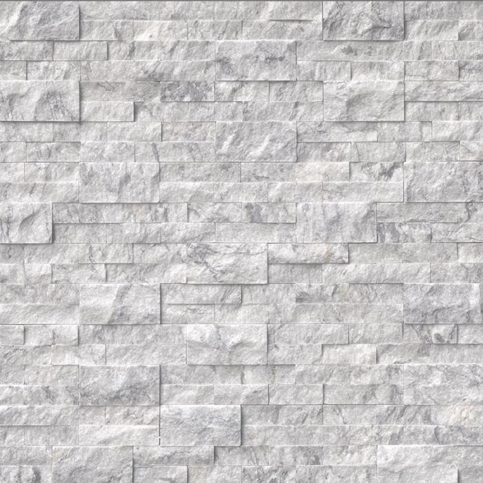 Hampton Carrara White Marble Architectural Wall Ledger Splitface Tile - 6 x 24 in.