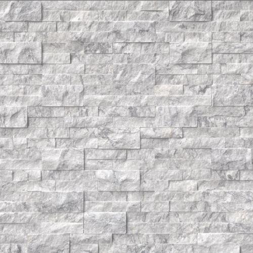 Hampton Carrara White Marble Architectural Wall Ledger Splitface Corner Tile