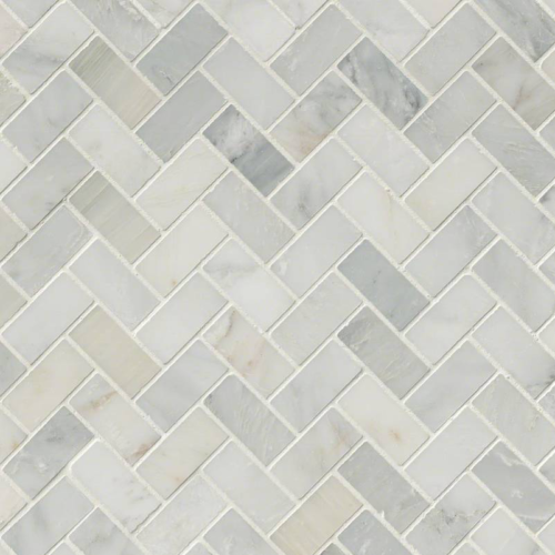 Hampton Carrara Marble Honed Large Herringbone Mosaic Tile