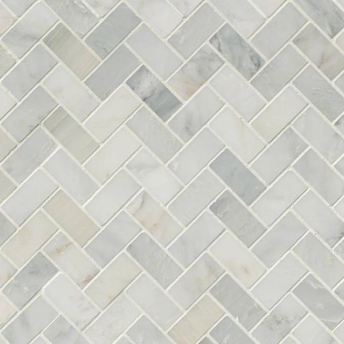 Hampton Carrara Marble Honed Large Herringbone Mosaic Tile