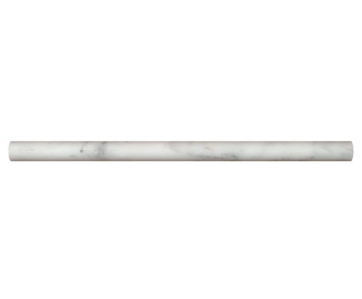 Hampton Carrara Marble Honed Peppin Pencil Trim - 3:4 x 3:4 x 12 in.