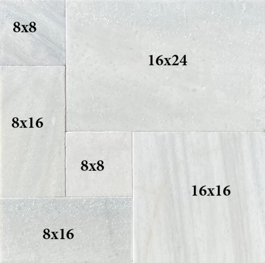 Hampton Carrara White Marble Paver Versailles Pattern