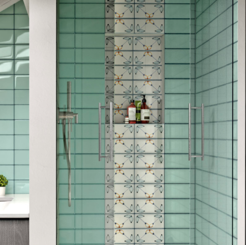 Iris LOL Aquamarine Ceramic Glossy Wall Tile 4x8 Bath Application