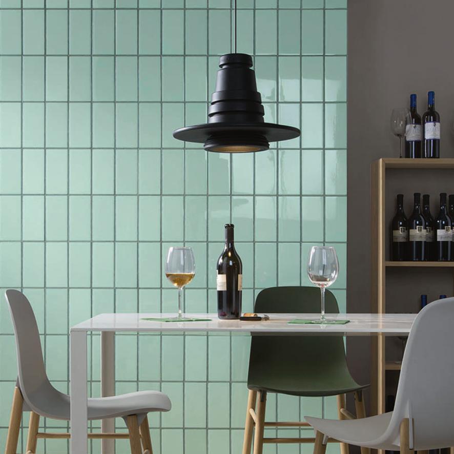Iris LOL Aquamarine Ceramic Glossy Wall Tile 4x8 Kitchen Application