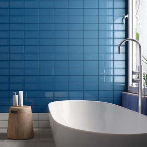Iris LOL Blue Ceramic Glossy Wall Tile 4x8 Bath Application