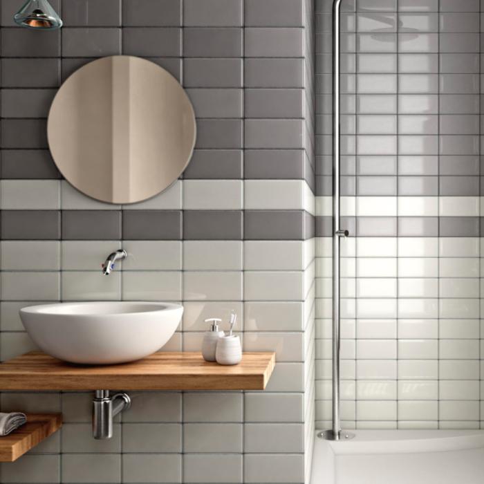 Iris LOL Grey Ceramic Glossy Wall Tile 4x8 Bath Application