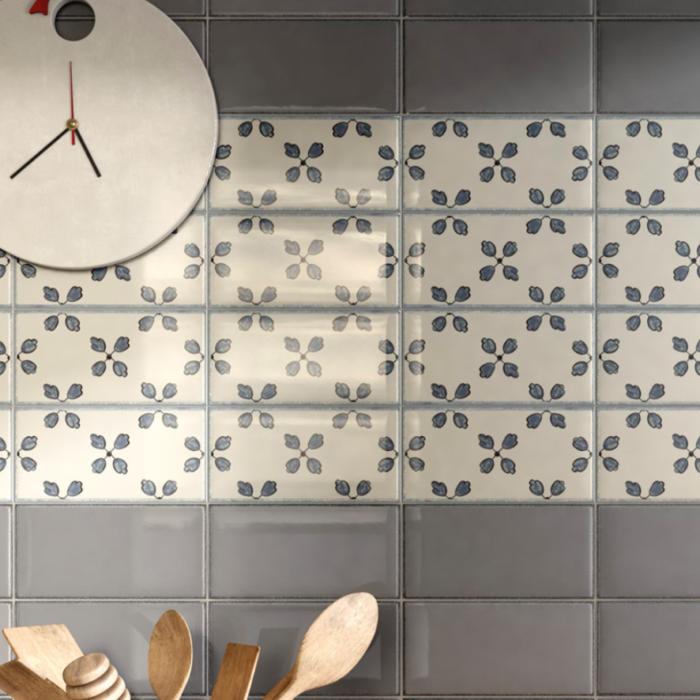 Iris LOL Grey Ceramic Glossy Wall Tile 4x8 Kitchen Application