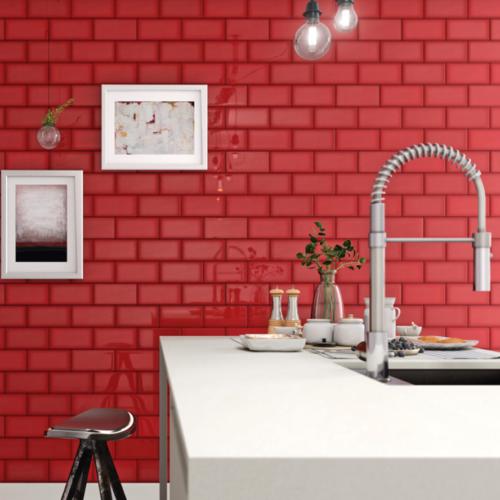 Iris LOL Red Ceramic Glossy Wall Tile 4x8 Bath Application