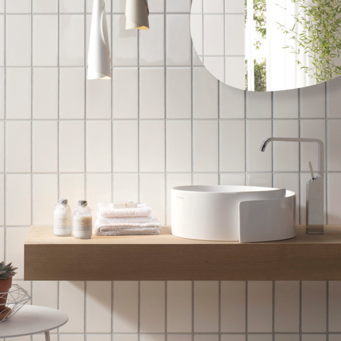 Iris LOL White Ceramic Glossy Wall Tile 4x8 Bath Application