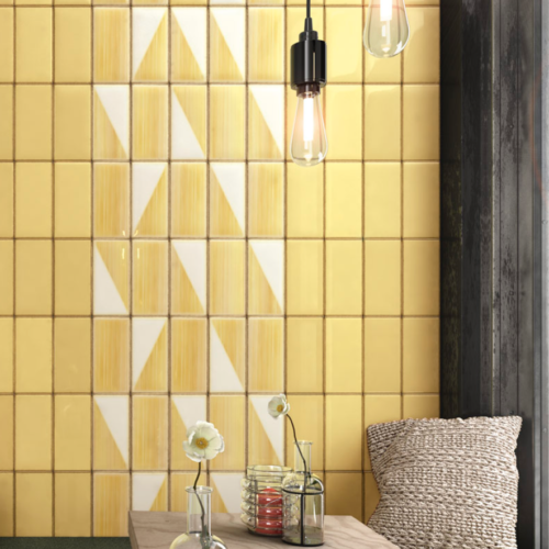 Iris LOL Yellow Ceramic Glossy Wall Tile 4x8 Restaurant Application