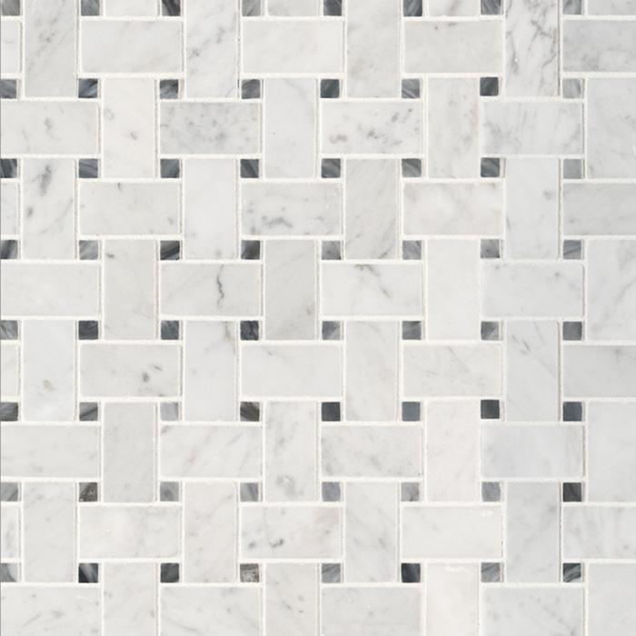 Italia F Carrara White Marble Honed Basketweave with Dot Mosaic 1 x 2 in.