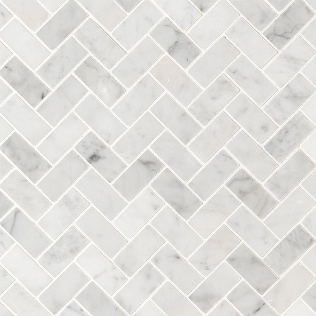 Italia F Carrara White Marble Honed Herringbone Mosaic - 1 x 2 in.