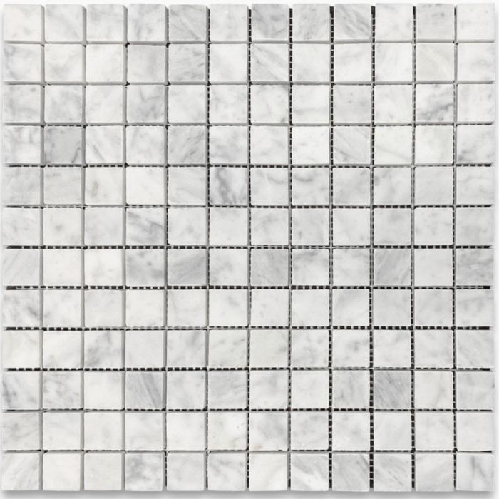 "Italia F Carrara White Marble Honed Mosaic 1""X1"""