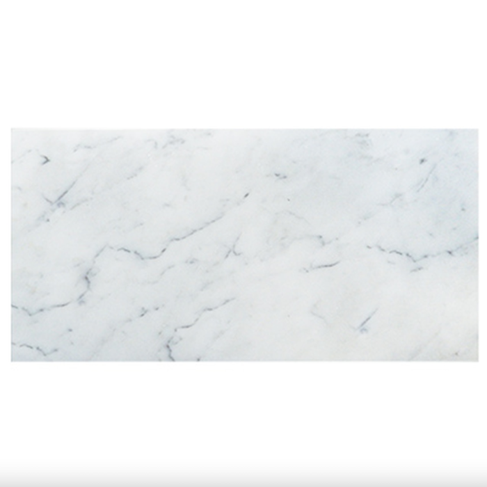 Italia F Carrara White Marble Matte Honed Tile - 18 x 36 in.