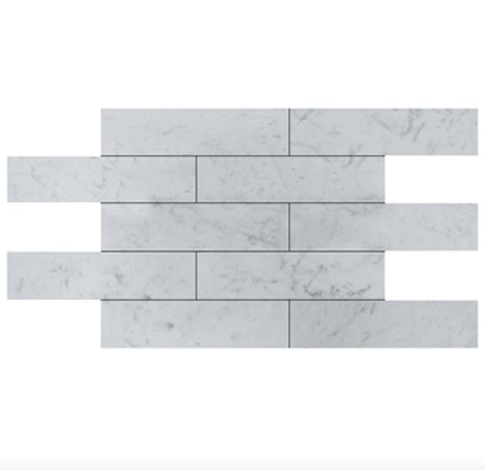 Italia F Carrara White Marble Matte Honed Tile - 3 x 12 in.