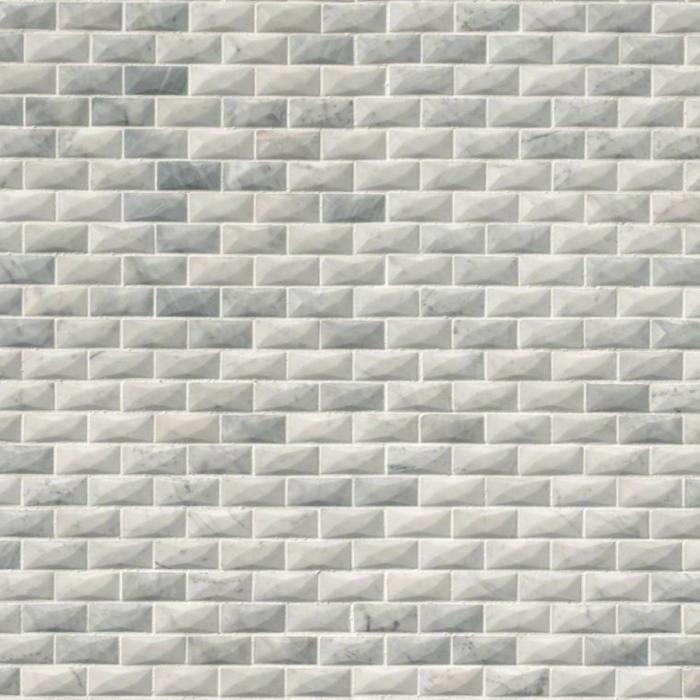 "Carrara White Marble Polished Cardine 3D Brick Mosaic 1""X2."