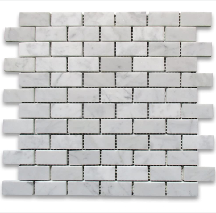 "Italia F Carrara White Marble Polished Cardine Brick Mosaic 1""X2"""