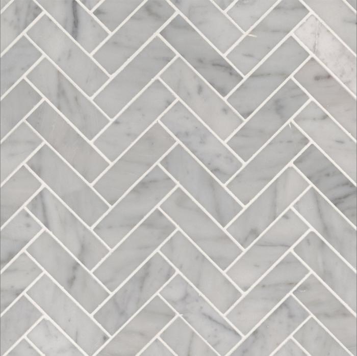 """Italia F Carrara White Marble Polished Herringbone Mosaic 1""""X3"""""""