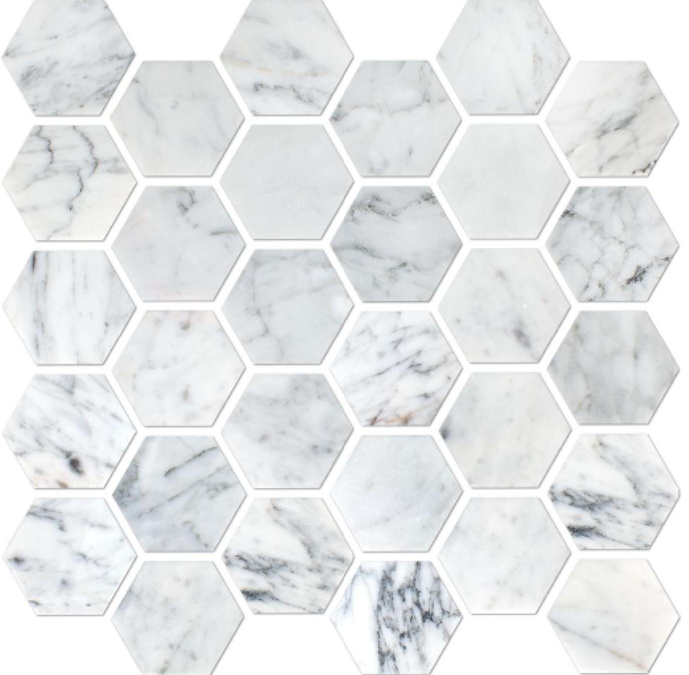 Italia F Carrara White Marble Polished Hexagon Mosaic - 2 x 2 in.