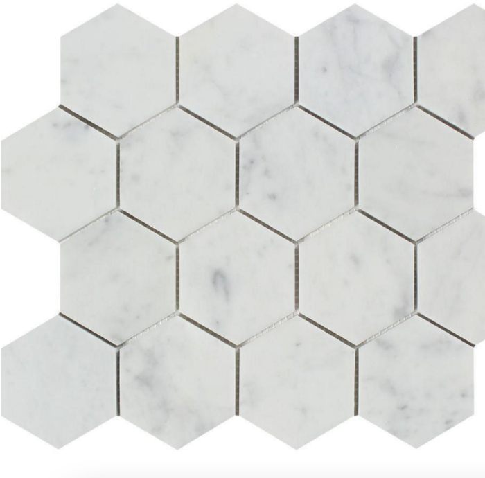 Italia F Carrara White Marble Polished Hexagon Mosaic - 3 x 3 in.