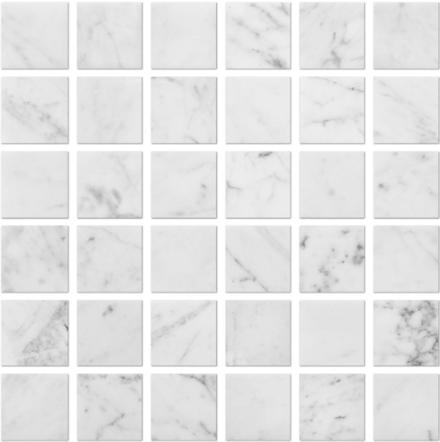 Italia F Carrara White Marble Polished Mosaic - 2 x 2 in.