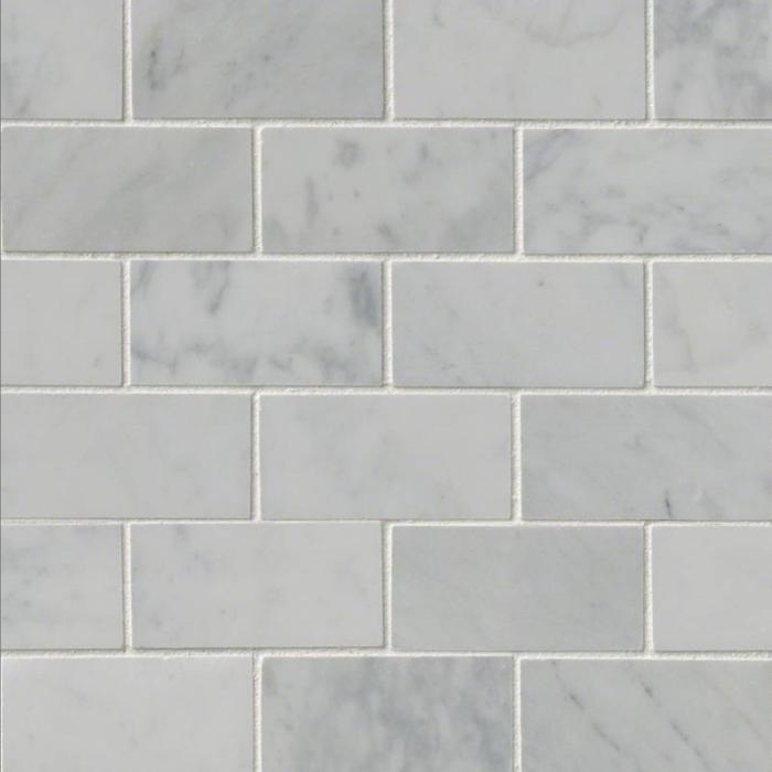 """Italia F Carrara White Marble Polished Mosaic Tile 2""""x4"""""""