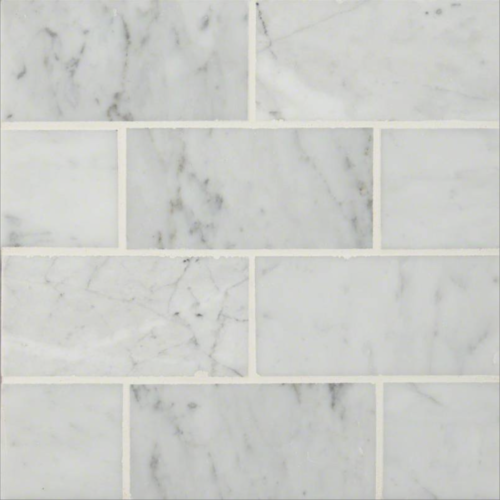 Carrara White Marble Polished Subway Wall & Floor Tile - 3 x 6 in.