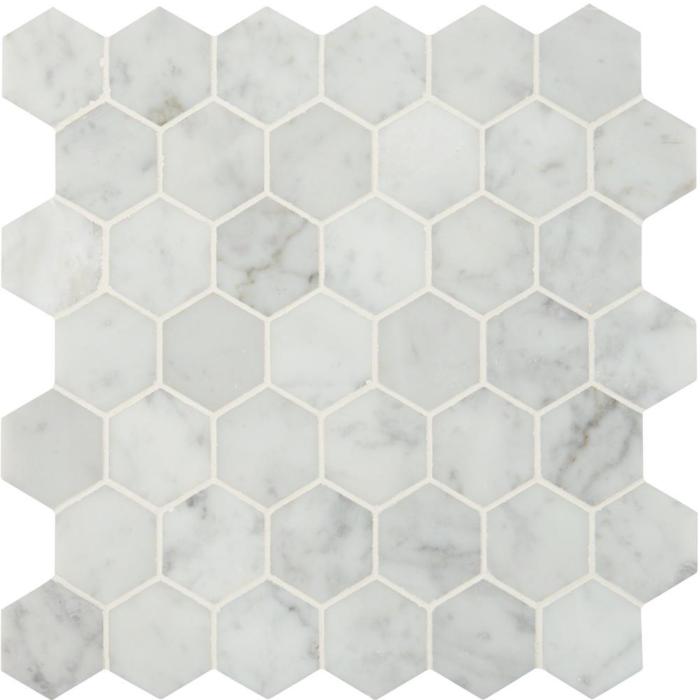 East Hampton Carrara Marble Polished Hexagon Mosaic Tile - 12 x 12 in.