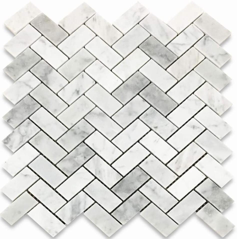 """Italia F Carrara White Marble Polished Herringbone Mosaic 1""""X2"""""""