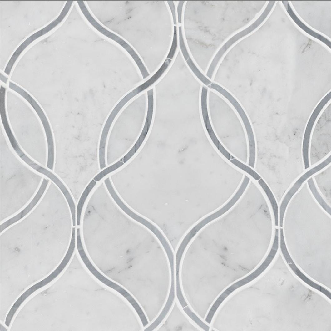 Italia F Carrara White Marble Polished RK WATERJET Mosaic - 3 x 3 in.