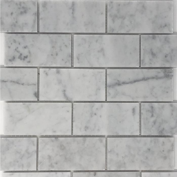 Italia F Carrara White Marble Honed Mosaic Tile - 2 x 4 in.